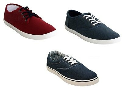 Mens Lace up Plimsolls Pumps Canvas Casual Quality Trainers Shoes Size UK 7-12
