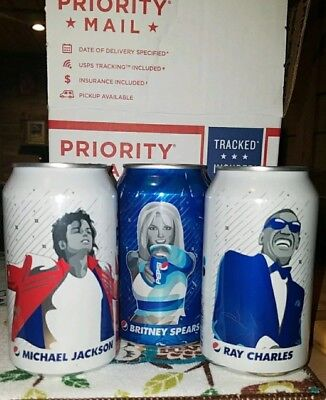 2018 Pepsi Music Generation Cans Michael Jackson Ray Charles Britney Spears