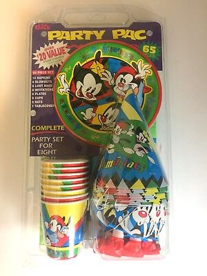 NEW Vtg 90s Animaniacs Birthday Party Set for 8 Hats Tablecloth Invitations Cups