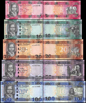 South Sudan 5 - 100 Pounds 5 Pieces - PCS, Full Set, 2011-2017, P-11-15, UNC