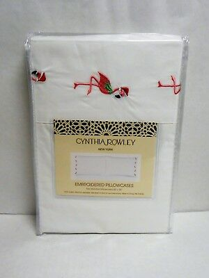 Cynthia Rowley Set of 2 Christmas Flamingo Embroidered Standard Pillowcases