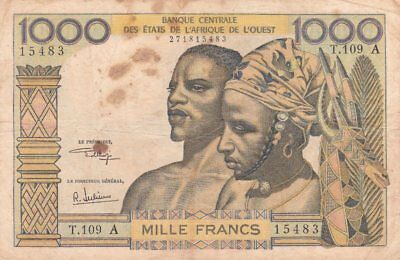 #West African States 1000 Francs 1969 P-103A VG Ivory Coast