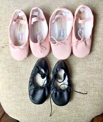 Lot (3) Ballet Shoes 2 Girls Size 10 Light Pink & Black And 1 Size 11 Light Pink