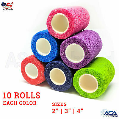 Self Adhesive Bandage Gauze Rolls Elastic Adherent Tape First Aid Kit Wrap 10pcs