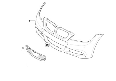 BMW 3 Series LCI M-Sport Bumper Replacement Lower Center Grill P/N: 51118047365