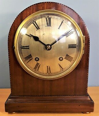 Vintage Empire Inlaid Wood Mantel Clock, Made in England