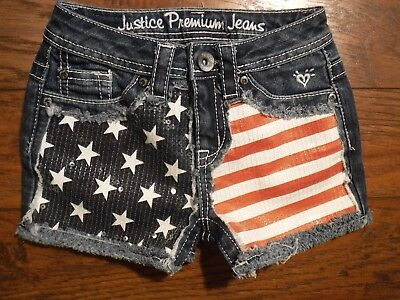 Justice Premium Jeans American Flag Sequin Denim Shorts Youth Girls Size 10S