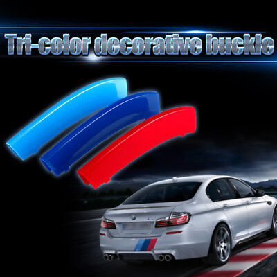 3pcs 3D Car Front Grille Trim Sport Strips Cover Stickers For BMW M Accessories
