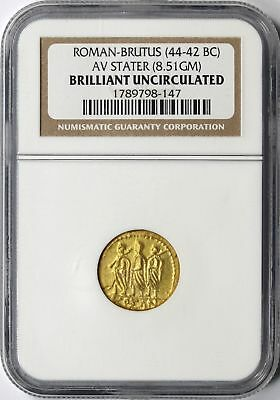 Roman - Brutus 44-42 BC Gold AV Stater NGC BU Brilliant Uncirculated