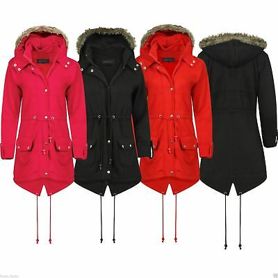 New Ladies Womens Jacket Plus Fishtail Hooded Fux Kids Fur Parka Trench Size