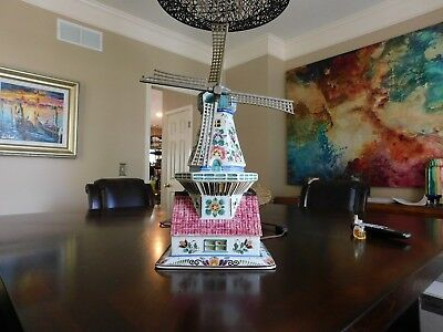 Amazing Delft Multi-color Hand Painted Large Lighted Windmill