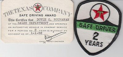 Texaco 2 Year 1958 Safe Driver Card & Patch