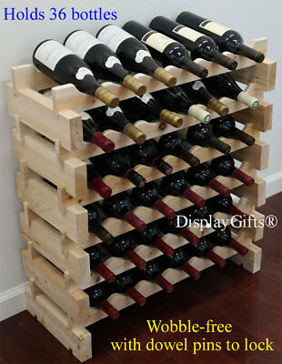 Very Sturdy 36 Bottles Wine Rack Stackable Storage 6 Tier Shelves Stand WN36