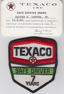 Texaco 7 Year 1964 Safe Driver Card & Patch