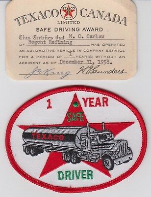 Texaco Canada 1 Year 1958 Safe Driver Card & Patch