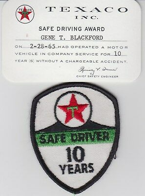 Texaco 10 Year 1965 Safe Driver Card and Patch