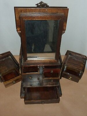 Vintage Chinese Oriental Wooden Mirrored Jewellery Box
