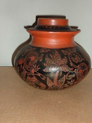 Vintage Asian Lidded Round Light Wooden Timber Lacquer Painted Storage Box