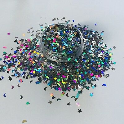 HOLOGRAPHIC SILVER CHUNKY MOON STARS FESTIVAL FACE BODY GLITTER 10g POT