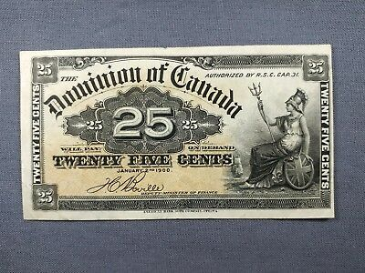 1900 Shinplaster 25c - Canadian Fractional Banknote - Dominion of Canada