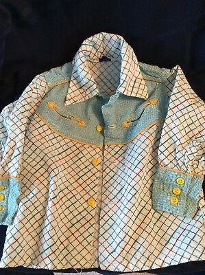 Vintage Boys Seersucker Shirt Retro Cowboy Pointed Collar Shirt Size 3