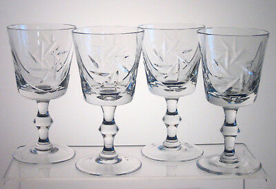 """PINWHEEL SEARS or THE BAY Wine Glasses 5 3/8"""", SET of FOUR"""