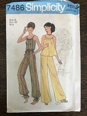 Vintage Simplicity sewing pattern/ 7486/ Size 16/ 1970's Shirt And Pants
