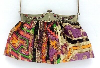 Vintage 4 Hinge Metal Frame Purse  with Glass Jewels & Colorful Fabric