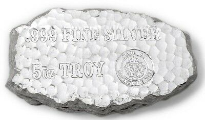 5~Oz ~ Pure .999 Silver ~ Tombstone ~ Silver  Nugget  Bar ~  $132.88  ~Awesome !