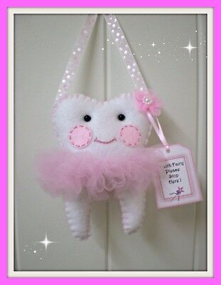 Tooth Fairy Pillow Ballerina Design- Pretty pink Ribbon-Handmade-Pocket on back