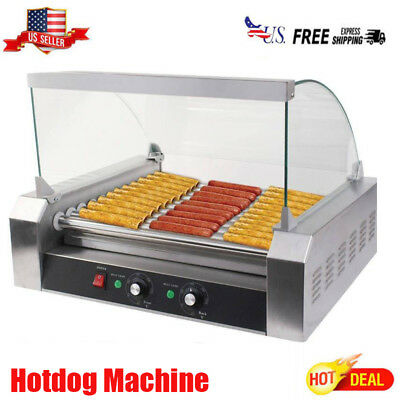 New Commercial 30 Hot Dog 11 Roller Grill Cooker Machine W/ cover CE  Silver