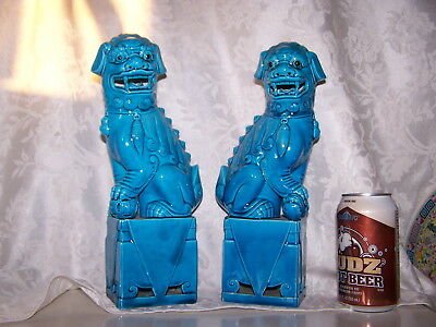 2- Vintage Pair of Turquoise Blue Chinese Foo Dogs Figurines Ceramic  Statues