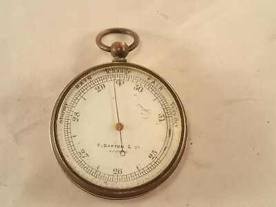 Antique F. DARTON, LONDON Gentlemen's Gilt Brass Cased Pocket Aneroid Barometer