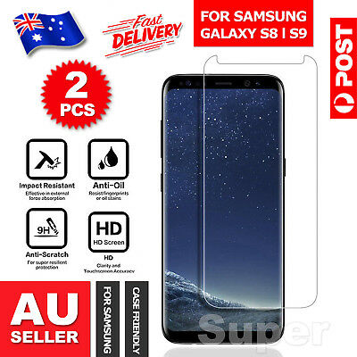2x For Samsung Galaxy S9 S8+ Plus Note 8 Tempered Glass Screen Protector Film