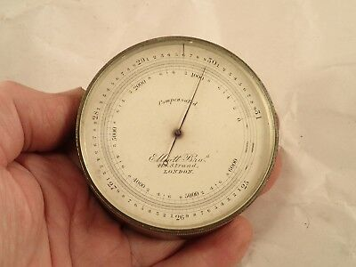 Antique ELLIOTT BROS Brass Cased Field Engineering Surveying Barometer Altimeter