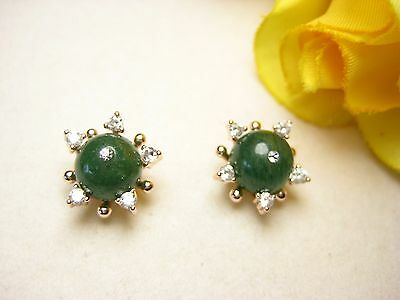 Earrings Ear Stud 100% Natural Jade 925 Silver Gold Plated Jewelry