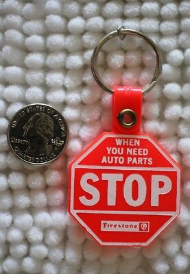 Firestone Tires When You Need Auto Parts Stop Light Red Keychain Key Ring #28892