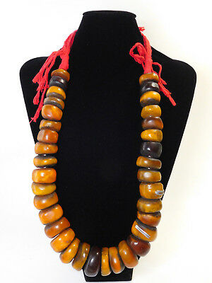 Best African Ethnic Jewelry Berber Honey Resin Trade Beads Necklace From Morocco