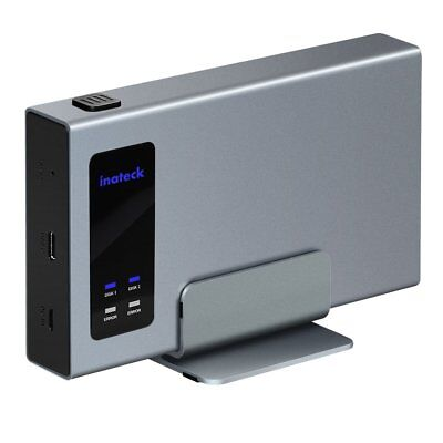 Inateck Aluminum USB-C RAID HDD Enclosure Dual Bay with a Portable Stand