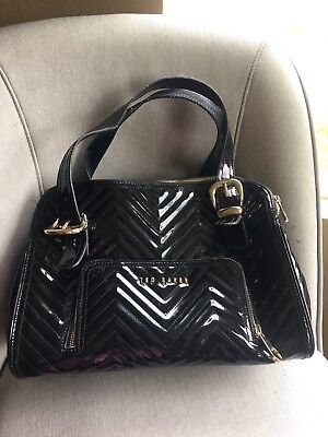 0209e5a0a7fb90 TED BAKER London Black Quilted Patent Leather Gold Hardware Handbag Tote