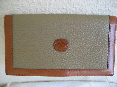 Vintage Dooney & Bourke AWL Taupe & Tan Checkbook Cover