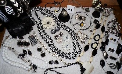 "VINTAGE Mixed Lot Of ""BLACK & WHITE"" Jewelry ~ MOP, Agate, Enamel ~ Huge Lot"