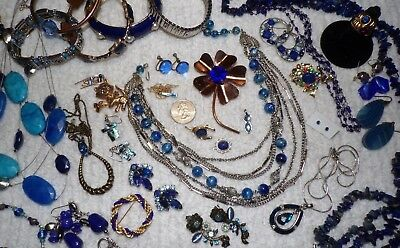 "VINTAGE Mixed Lot Of  ""SAPPHIRE"" Jewelry ~ Napier, GF Guilloche, Sara Cov, Lapis"