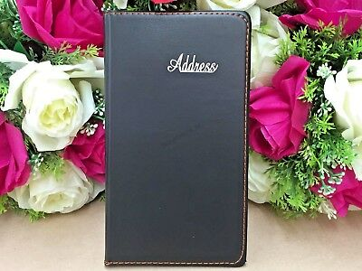 Black Leather Grain Address Book Phone E-mail Office Telephone 120 pages NEW S