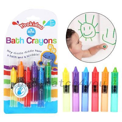 6* Bath Crayons Write On Wipe Off Washes Off With Water Fun Bath Time Craft Toy