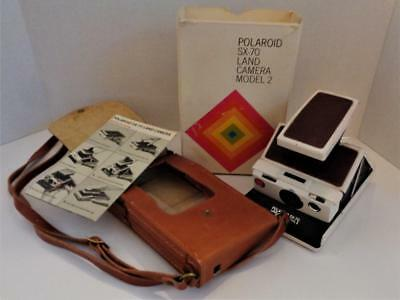 Vintage Polaroid SX-70 Land Camera Model 2 Ivory w/leather case, box, papers