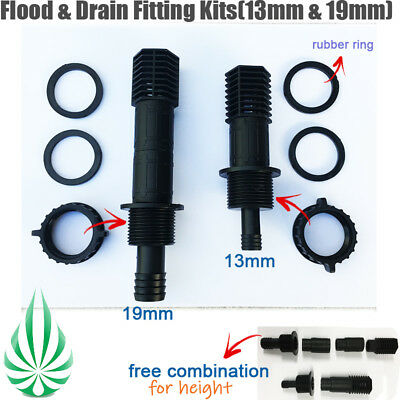 Flood Drain Tray System Flow Fitting Kit 13MM & 19MM Outlet Screens 3 Extensions