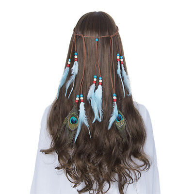 Boho Ladies Indian Headdress Hippie Feather Headband Peacock Feathers Hair Band