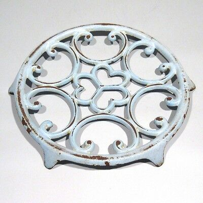 Vintage French Enamel Cast Iron Trivet, Light Blue, Hearts, Rose Window
