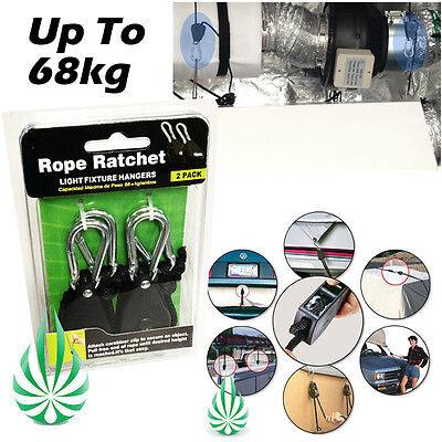 High Quality Rope Ratchet Hydroponic Grow Tent Light Reflector Adjustable Hanger